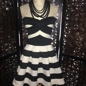 Dresses & Skirts - Black & White Striped Strapless Skater Dress